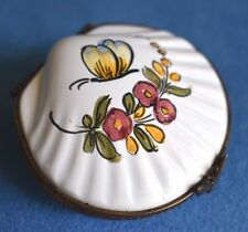Vintage Antique Design Butterfly Flora Clam Sea Shell Limoges France Trinket Box