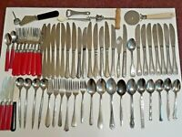 Large lot of Flatware. mixed patterns. stainless steel. forks, spoons, knives