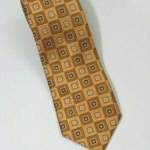 Enro Platinum Gold Block Silk Tie 3.5 in x 60 in Gold Blue White