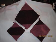 AWESOME THICK Crochet Potholders set of 3.....Burgundy & Rose.....Hand made