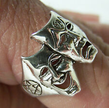 Theater Mask W Pentagram Rings heavy metal new Br141 bikers fashion jewelry