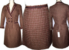 New $620 Rebecca Taylor Jacket Skirt Suit 12 / L Brown