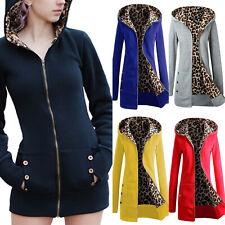 Women Long Sleeve Zip Hooded Hoodie Jacket Coat Leopard Hoody Jumper Outwear AU