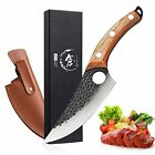 Meat Cleaver Knife Hand Forged Boning Knife with Sheath Butcher Knives High Carb