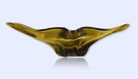 Vintage 1960s Murano Yellow Glass Art Bowl Vase Dish Mid Century Italien Piece