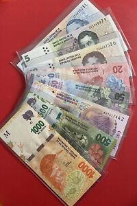 Argentina 8 PCS MIX Set ( 2 5 10 20 50 100 500 1000 Pesos ) 2012-2020 UNC