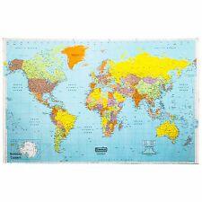 "Laminated World Wall Map, 38 x 25"""