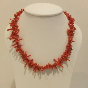 """Vintage Salmon Pink Coral Branch and Silver Chain Necklace 15"""""""