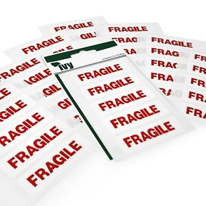 70 Sticky Fragile Labels - 19 x 63mm - Easy Peel Self Adhesive Stickers - Ivy