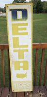 """1960s Delta Tires Metal Sign.fading And Original Paint Loss See Photos. 60""""x 16"""""""