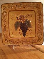 "Certified International Grape Cluster 13"" Square Platter by Geoffrey Allen RARE"