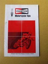 CHAMPION SPARK PLUG MOTORCYCLE SERVICE TIPS MANUAL BROCHURE CANADA