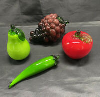 Vintage Hand Blown Glass Fruit Murano Style Art Deco Lot 4 Pieces Beautiful!