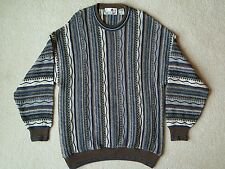 Mens Florence Tricot Brown and Blue Textured Long Sleeve Sweater XL Vintage