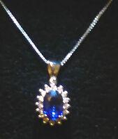 COLLANA CIONDOLO donna  oro bianco 18 kt con diamanti e  zaffiro naturale