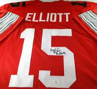 EZEKIEL ELLIOTT / AUTOGRAPHED OSU BUCKEYES RED CUSTOM FOOTBALL JERSEY / COA