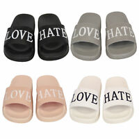 Ladies Flat Sliders Love Hate Slippers Slip On Mules Womens Summer Sandals Shoes