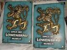 Pair Vintage 1950s Lowenbrau Golden Lion Beer Signs Hard Plastic Munich Germany