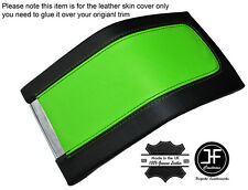 BLACK & GREEN LEATHER ARMREST COVER FITS FORD MUSTANG 2010-2014