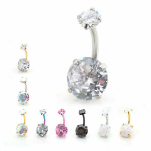 "14G Large 3/8"" CZ Belly Button Navel Ring Gold Tone Body Jewelry Piercing NEW"