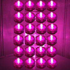 Qty 24 Pink Led Submersible Underwater Tea lights TeaLight Flameless Free Sh