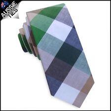Green, Brown, White & Blue Diamonds Skinny Tie