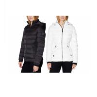 Nautica Womens Zip Up Puffer Jacket Winter Coat Stretch Water Resistant Black