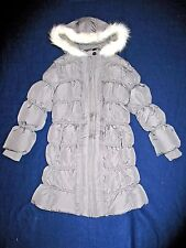 NWT GYMBOREE Penguin Chalet Gray Long Hooded Puffer Winter Jacket Girls 3-4 XS