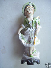 "Antique Porcelain Lady Figure Doll 8"" Tall Figurine Signed"