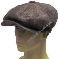 New Brown herringbone Gatsby Cap Hat Mens Ladies Flat 8 Panel Baker Boy Newsboy