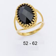 Dolly-Bijoux Grosse Bague T56 Marquise Onyx Cz 20-13mm Plaqué Or 18K 5Microns