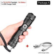 Aluminum Shock Resistant Flashlight 50W 500m USB Rechargeable LED Multi Mode