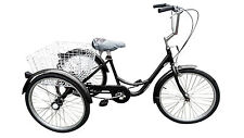 "Ultimate Hardware Freedom Adults 20"" Wheel 6 Speed Cargo Trike Tricycle Black"