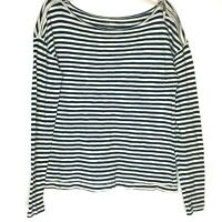 LOFT Ann Taylor Navy Blue Cream Striped Long Sleeve Nautical Shirt Zipper Detail