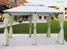 Gazebo giardino mt 3 x 4 metallo con tenda laterale copertura impermeabile BEIGE