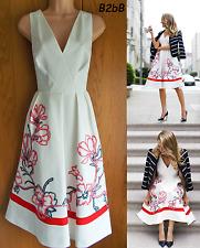 NewWT Karen Millen white floral ribbon applique cotton summer 50s dress UK 12