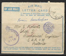 South Africa 1943 Airmail Cancelled to Pretoria Passed by Censor No.2115