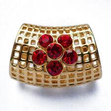 tube bijoux passant Anneau à foulards fin soie mousseline cristal rouge et doré