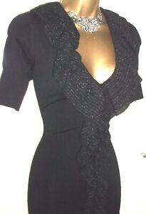 💝BEAUTIFUL KAREN MILLEN BLACK RUFFLE FRONT STRETCH BODYCON PARTY DRESS 10, 12