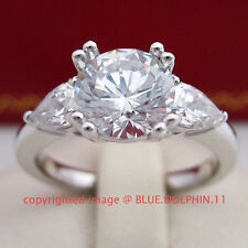 Genuine Real Solid 9ct White Gold Engagement Wedding Trilogy Rings Lab Diamonds