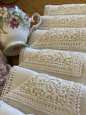 More details for 6 pretty vintage linen embroidered napkins. crochet lace edge & corners