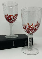 Set Of Two Hand Blown Art Glass Red & White Confetti Wine Glasses