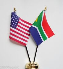 United States of America USA & South Africa Double Friendship Table Flag Set