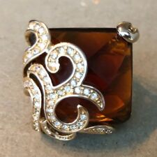 CAMILLE LUCIE RING-AMBER & CLEAR CRYSTALS-GOLD TONE-SIZE:6 3/4-MINT CONDITION!