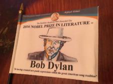 """Bob Dylan 2016 Nobel Prize Commemorative Desk Flag 4"""" x 6"""" ~Awards Series~"""