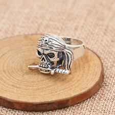 Solid 925 Sterling Thai Silver Ring Skull Pirate Adjustable Size 8 9 10 11