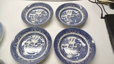 """CHURCHILL BLUE WILLOW Set of  4 Soup / Cereal  Bowls Staffordshire England 8"""""""