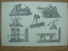 Antico 1880 Vittoriano Stampa ARTIGLIERIA Medievale PIASTRA 1
