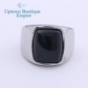 Black Onyx Gemstone Men's Stainless Steel Rectangle Ring Band Size:8-13#AAG