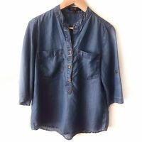 VELVET HEART Chambray Blue Tencel Denim Tunic Top 3/4 Roll Tab Sleeve Sz S Small